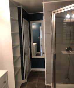 0ver size 36 inch door leading to bath