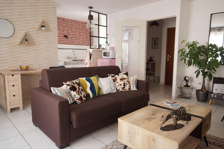 Vue d'ensemble, salon, espace repas, kitchenette. Canapé-lit prévu pour du couchage régulier, confortable et haut de gamme.