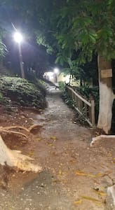 Pathway to the house at night