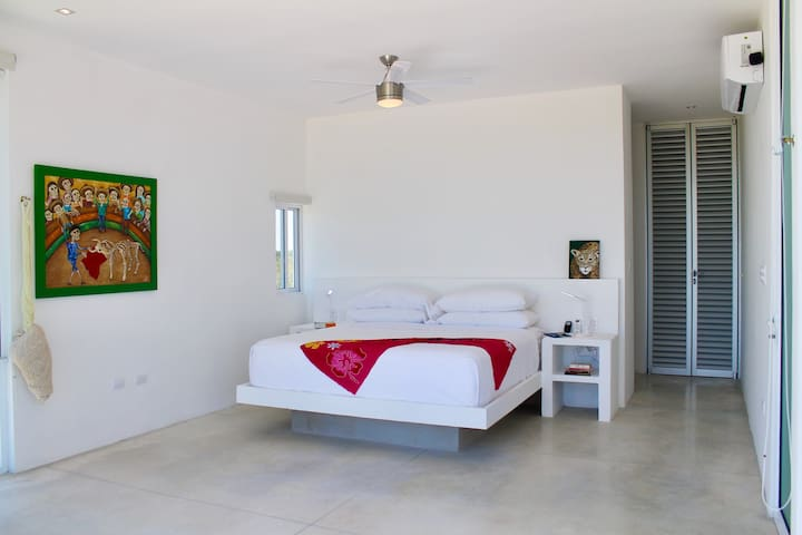 Main floor Yucatán Suite is fully accessible with a king bed, hammock, a/c, ceiling fan, built in chargers, terrace access and full ensuite.