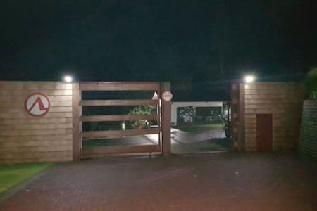 We have the entire parking and entry way well-lit with solar-powered lights. It is easy to follow the path and ramp to the door to the cabin.