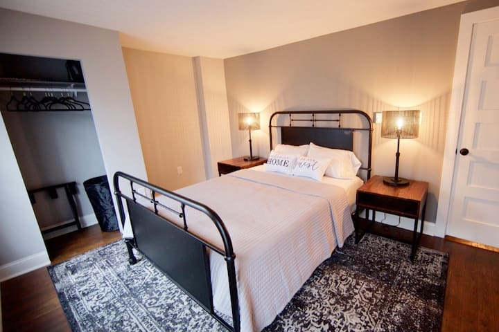 Super comfortable Nectar Queen size mattress and super soft bed sheets. You won't want to get out of bed!!! There is also a full length mirror now next to the closet. (Just put it in this room)