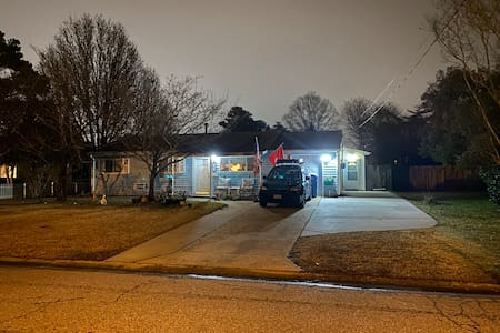 We have a motion sensor led light on the garage, three motion sensors Solar LED lights on the side of the house, and a light above the door. On top of the street light right across the from my drive way