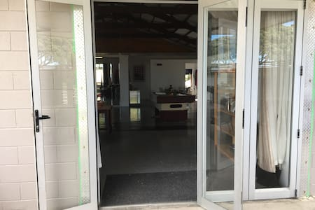 With the bifold door open, access width is 110cm (43 inches) +