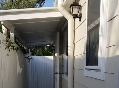 Entrance way lights up at night for easy access