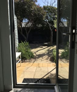 Guest entrance from inside the house looking out