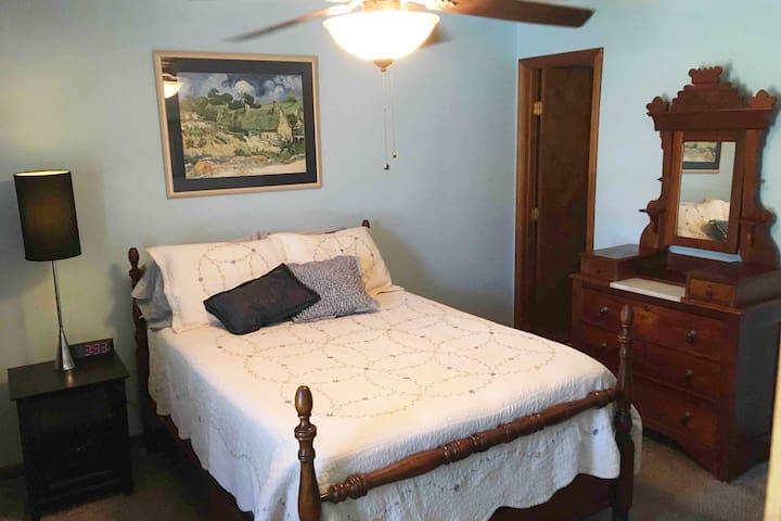 Enjoy the space in the master bedroom. It has a dresser and a chest of drawers as well as a walk-in closet and master bathroom with a walk-in shower.
