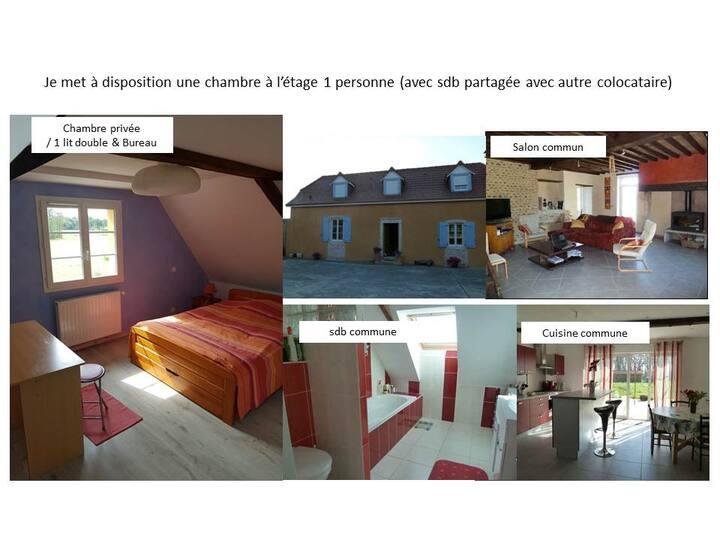 *Chambre privée Etage sud -bleu-lit double 20€