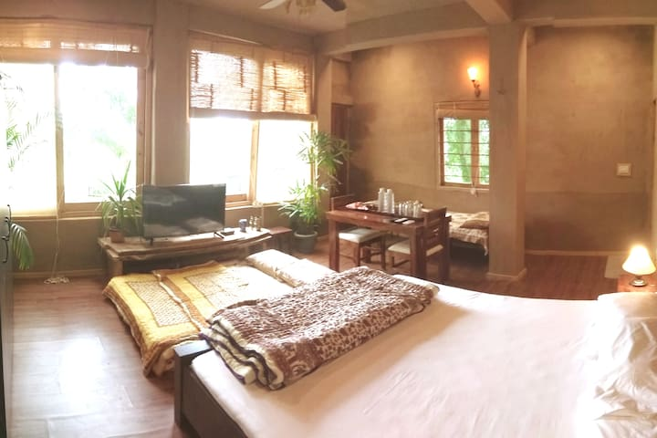 Terrace Garden Suite with 5 guest bed configuration.