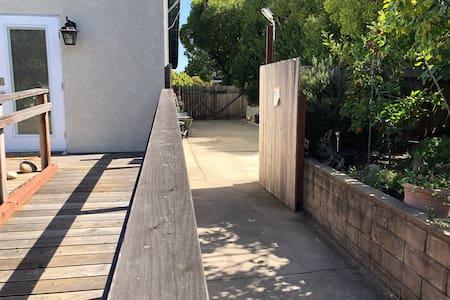 ADA compliant walkways, parking space and ramp.