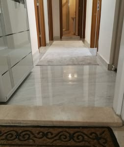 just a 2 cm high marble plate on the Ground in the Apartment entrance , as usual in Turkey.