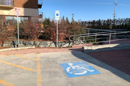 Wheelchair ramp from parking lot to elevator entrance is slopes slightly. There are no cribs or steps between handicap parking and unit.