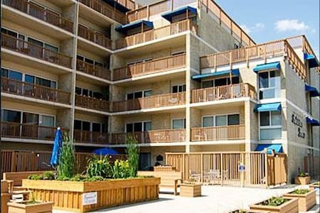 "There is a slight ramp maybe 3"" from the sidewalk to the plaza. There are standard thresholds at the outside door and our condo entrance. The levator goes from parking garage to all floors. NOTE there is a staircase to reach the Pool deck."