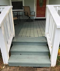 Approximately 2 inch threshold to get into house from deck.