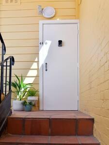 Sensor light directly above the door