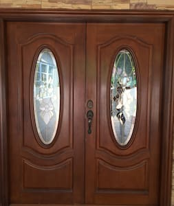 This is the main door without any steps