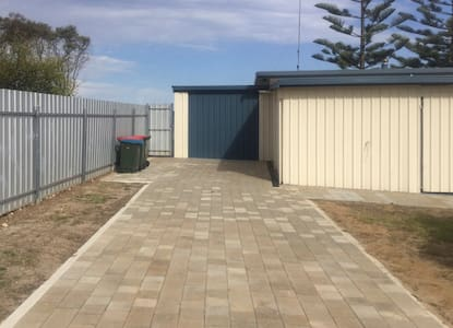 Flat driveway for easy access.