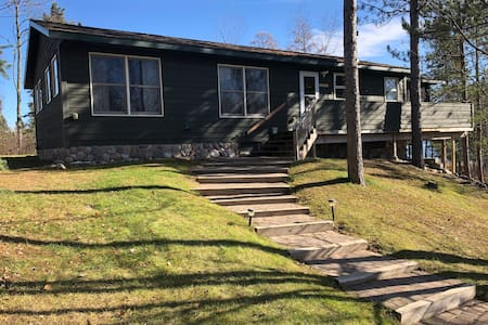 Main stairs and entrance to cabin is very wide with large flat steps.