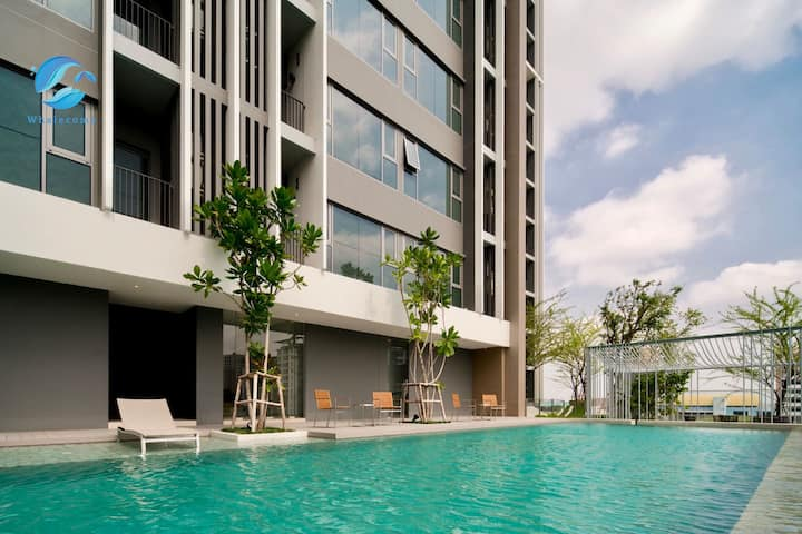 W2】Sukhumvit 101 Luxury 1BR&Sky pool&near BTS&Mall