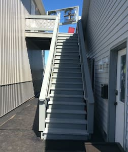 Stairs leading up to entrance