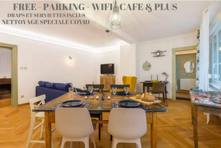 Family-5 pers -5 min from city center-free parking