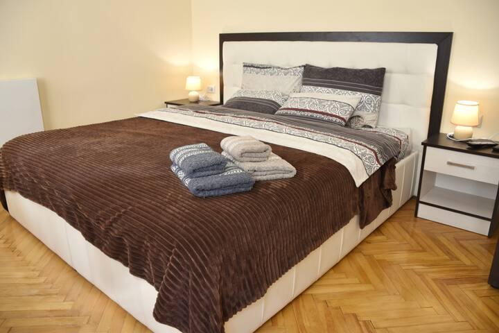 • Lviv center apt - wide bed & AC •