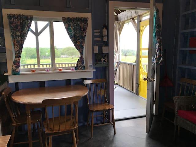 Main room to veranda