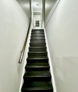 Stairs for entry to basement apartment
