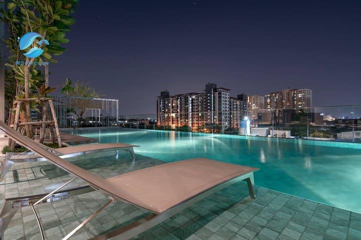 W5】Sukhumvit 101 Sky pool&gym&Onsen&200m BTS&Mall