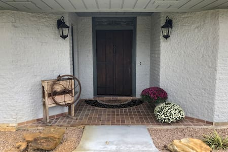 Front door. Slight curb easy for a wheelchair.