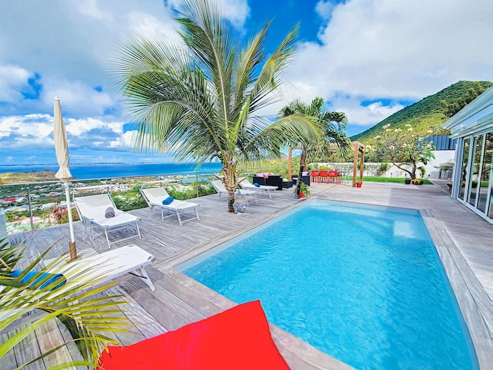 Villa SEA VIEW, 5' from Grand Case beach, privacy