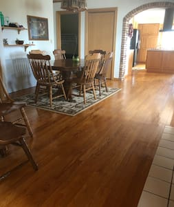 Bedrooms, bathroom, dining area, kitchen, living room, and laundry all on main floor. Main floor can be entered through the kitchen, from the deck. Deck can be entered by way of the ramp from the back yard if steps are difficult.