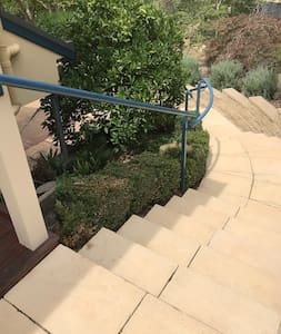 Entrance steps and handrail from carport.