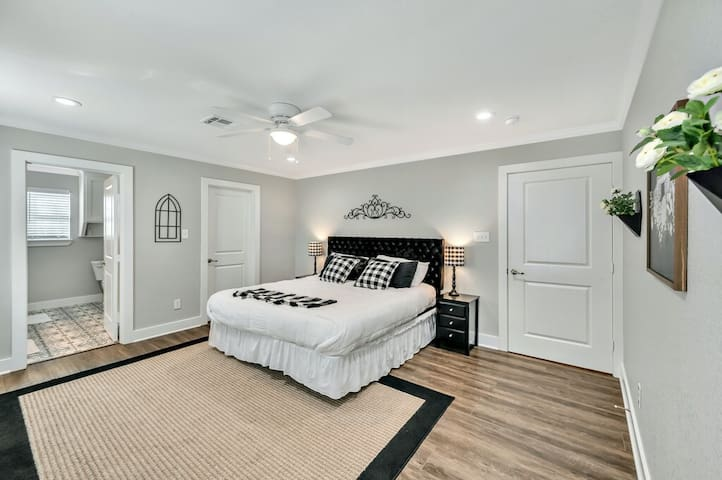 Master bedroom with walk in closet, full bath and TV