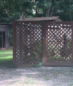 Trellis gate to apartment courtyard