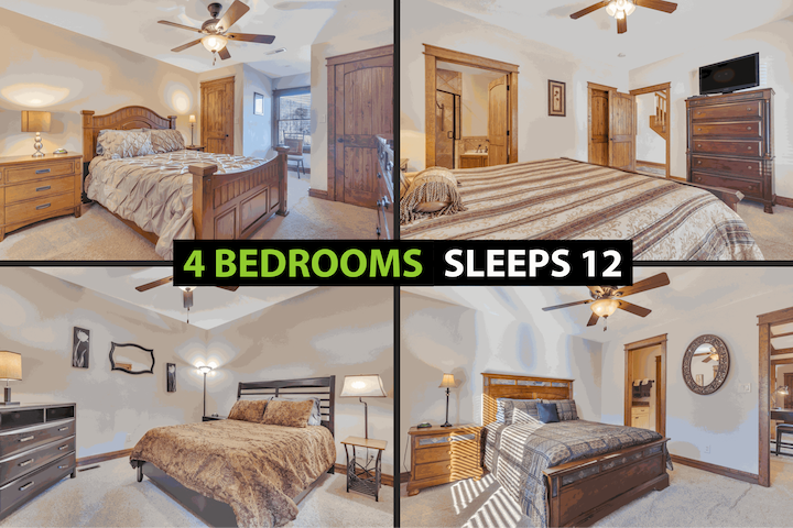 ★4 Bedrooms (King & 3 Queens) + 2 Sofa Beds, a couch, Queen Sized Air Mattress, Pack N Play for kiddos★