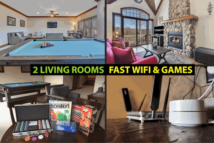★2 Living Rooms both with Smart TVs w/ DirecTV, Netflix etc.  The downstairs living room has a pool table, poker table, and NES w/ 621 games including the original Mario Brothers.  Google Wifi Mesh Network for strong wifi in every room.★