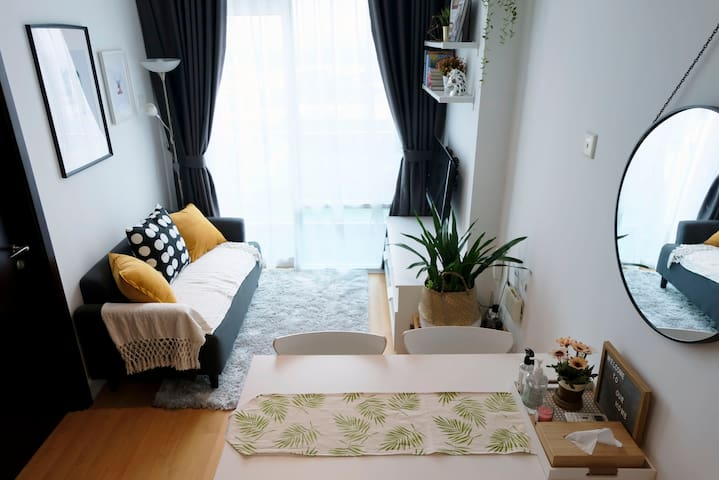 1 cozy space incorporating all the necessities and more you need on your trip: a warm bed to go home to, a living room to snuggle into, a small dining room & kitchen to try out new recipes or invite your friends :)