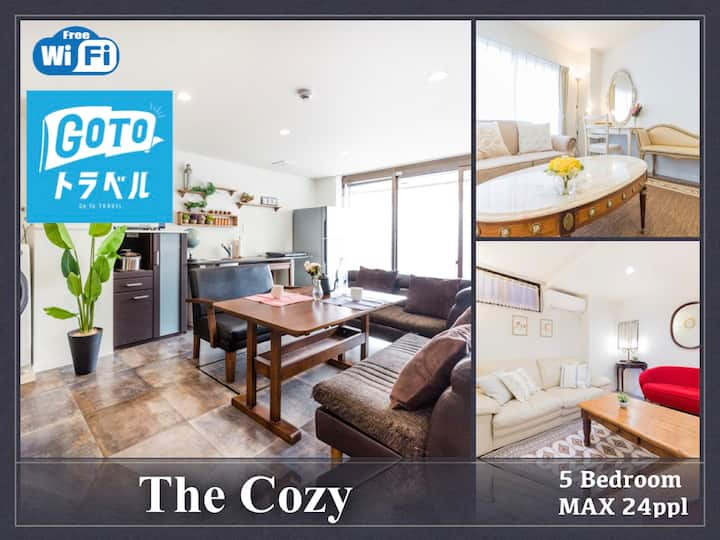 The Cozy / up to 24 ppl/ 5 bedroom / free bicycle