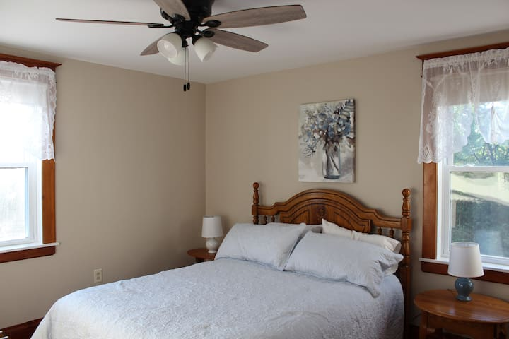 Bedroom 4, Second Floor, New queen bed. 12-19. 5-20 Carpet was removed and hardwood floor was refinished.  New ceiling, walls and ceiling fan 6-21.