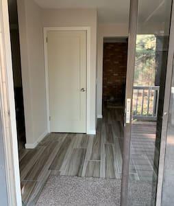 4' wide entrance via sliding patio door from deck
