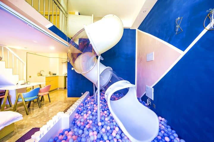 【拾忆·超大滑滑梯海洋球】loft 豪华双床房 /长租/消毒/宝龙广场/万达广场/阳光广场/机场附近