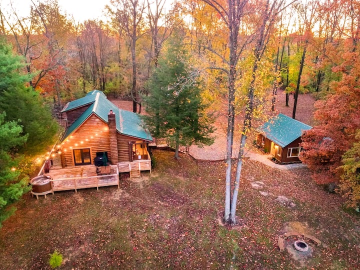 Log Cabin + Guest House on a Pond with Hot Tub