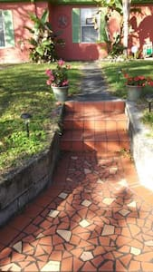 Steps to front door. Wide driveway also available for wheelchair access.