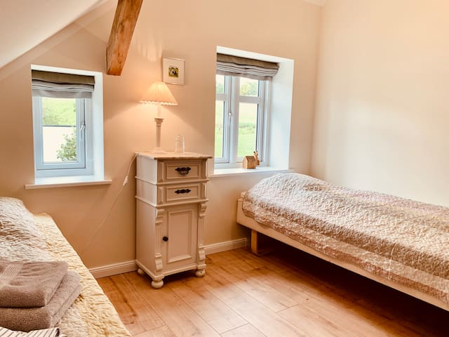 Bedroom with two single beds on the top floor