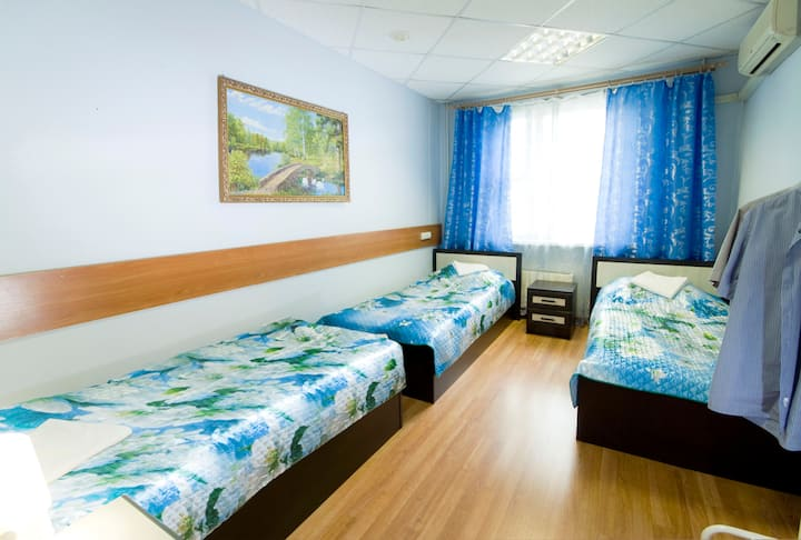 трехместный,  Single Bed in Mixed Dormitory Room