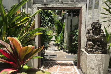 the front door leads into the villa area
