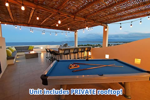 ★Penthouse★  private rooftop, firepit, views, pool