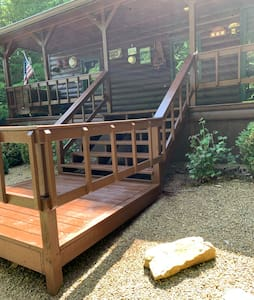 Cabin entry has well lit steps and hand rails!