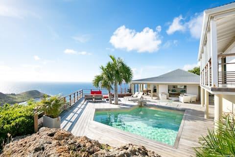 Villa Sea Star vue magnifique sur  plage de Toiny
